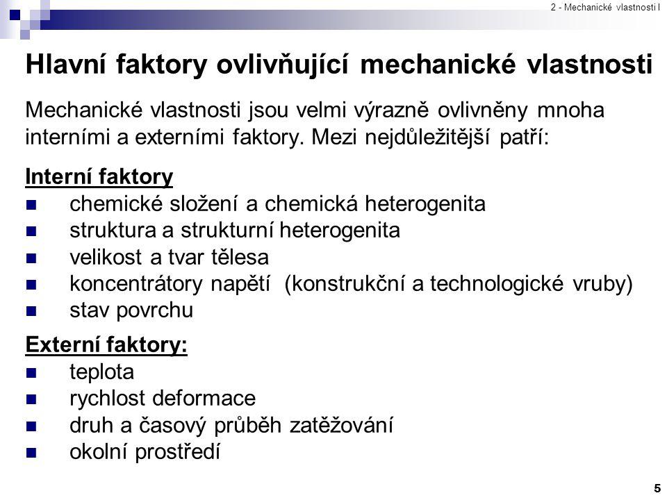 2 - Mechanické vlastnosti I 5 Hlavní faktory ovlivňující mechanické vlastnosti Mechanické vlastnosti jsou velmi výrazně ovlivněny mnoha interními a ex