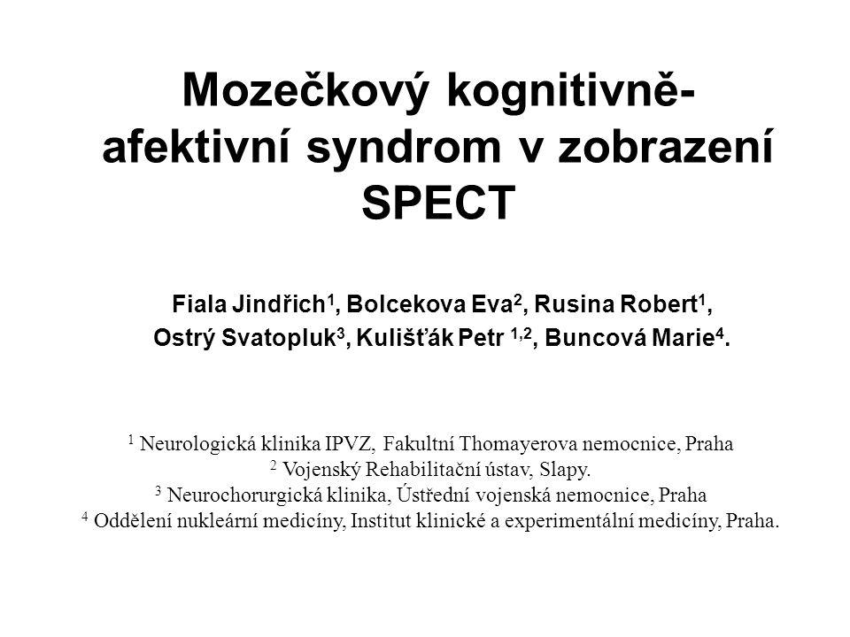 Mozečkový kognitivně - afektivní syndrom 1) Postižení exekutivních funkcí (plánování, změna činnosti, abstraktní uvažování, pracovní paměť, fluence řeči) 2) Porucha vizuospaciálních funkcí (řešení prostorových úloh, vizuospaciální paměť) 3) Změny osobnosti charakterizované oploštěním emocí, disinhibovaným nebo neadekvátním chováním 4) Poruchy řeči: aprozodie, agramatismus, mírná anomie.