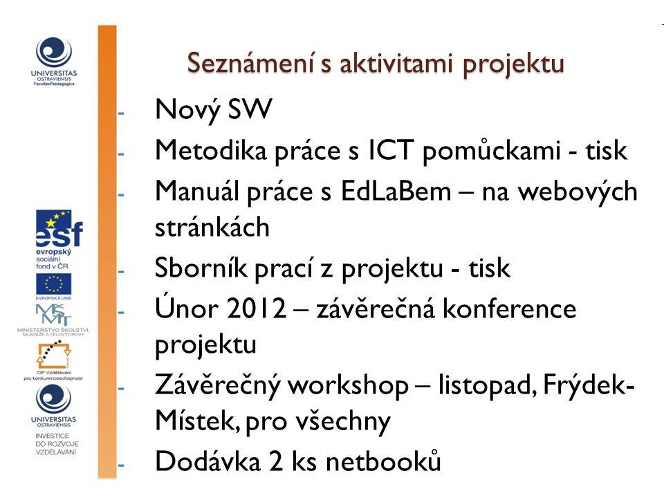Seznámení s aktivitami projektu - Nový SW - Metodika práce s ICT pomůckami - tisk - Manuál práce s EdLaBem – na webových stránkách - Sborník prací z projektu - tisk - Únor 2012 – závěrečná konference projektu - Závěrečný workshop – listopad, Frýdek- Místek, pro všechny - Dodávka 2 ks netbooků