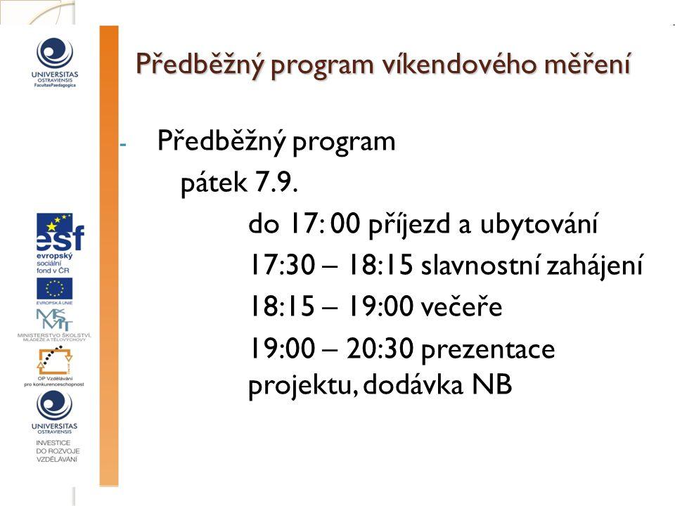 Předběžný program víkendového měření - Předběžný program pátek 7.9.
