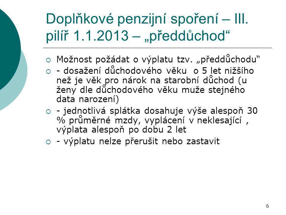 """6 Doplňkové penzijní spoření – III. pilíř 1.1.2013 – """"předdůchod""""  Možnost požádat o výplatu tzv. """"předdůchodu""""  - dosažení důchodového věku o 5 let"""