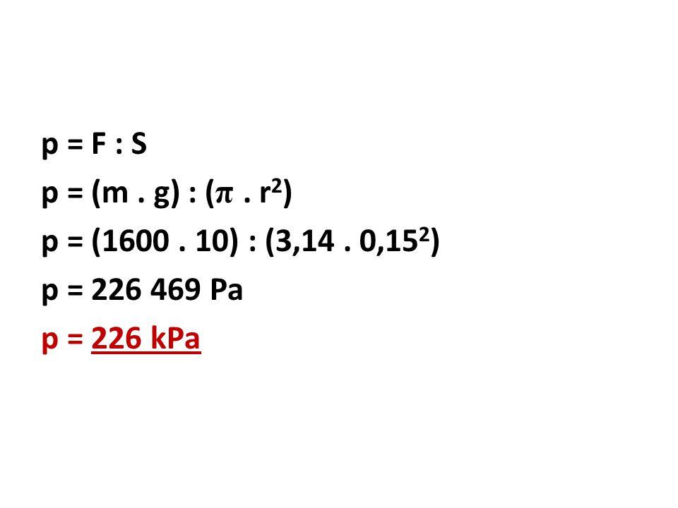 p = F : S p = (m. g) : ( π. r 2 ) p = (1600. 10) : (3,14. 0,15 2 ) p = 226 469 Pa p = 226 kPa
