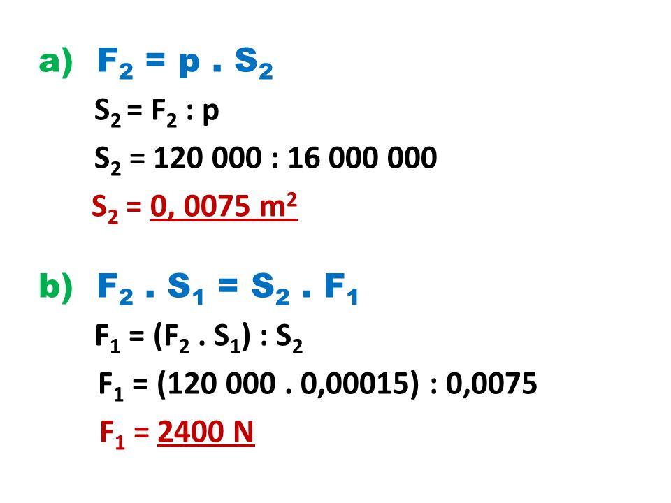 a) F 2 = p.S 2 S 2 = F 2 : p S 2 = 120 000 : 16 000 000 S 2 = 0, 0075 m 2 b) F 2.