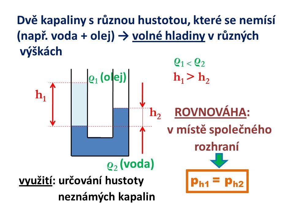 Dvě kapaliny s různou hustotou, které se nemísí (např.