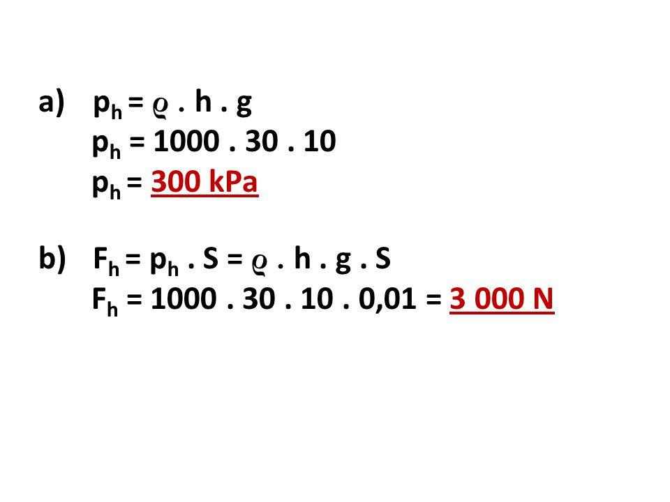 a)p h = ρ.h. g p h = 1000. 30. 10 p h = 300 kPa b)F h = p h.