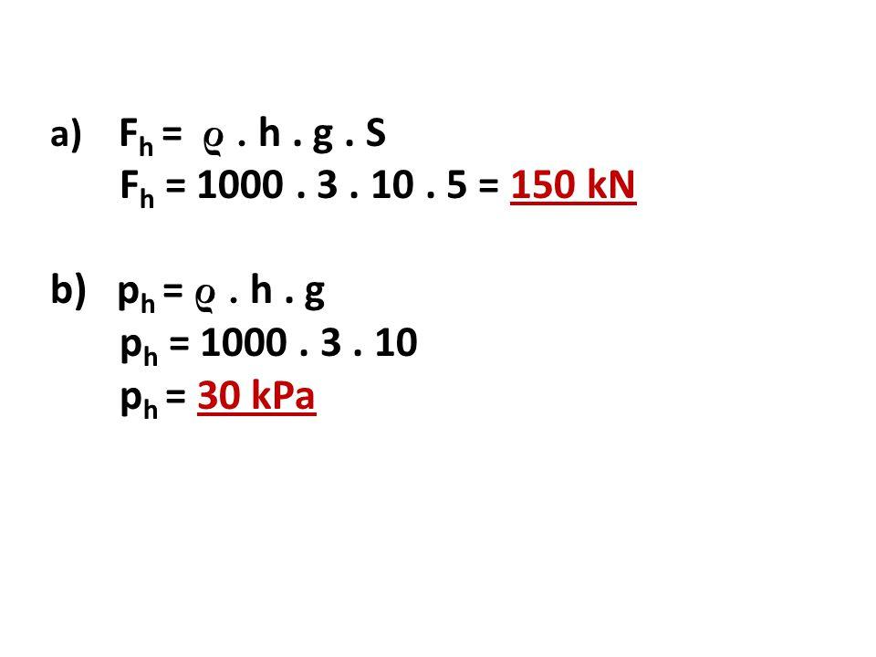 a) F h = ρ. h. g. S F h = 1000. 3. 10. 5 = 150 kN b) p h = ρ. h. g p h = 1000. 3. 10 p h = 30 kPa