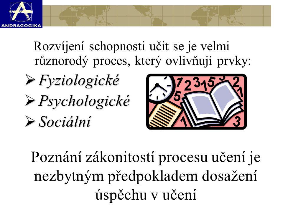 Rozvíjení schopnosti učit se je velmi různorodý proces, který ovlivňují prvky:  Fyziologické  Psychologické  Sociální Poznání zákonitostí procesu učení je nezbytným předpokladem dosažení úspěchu v učení