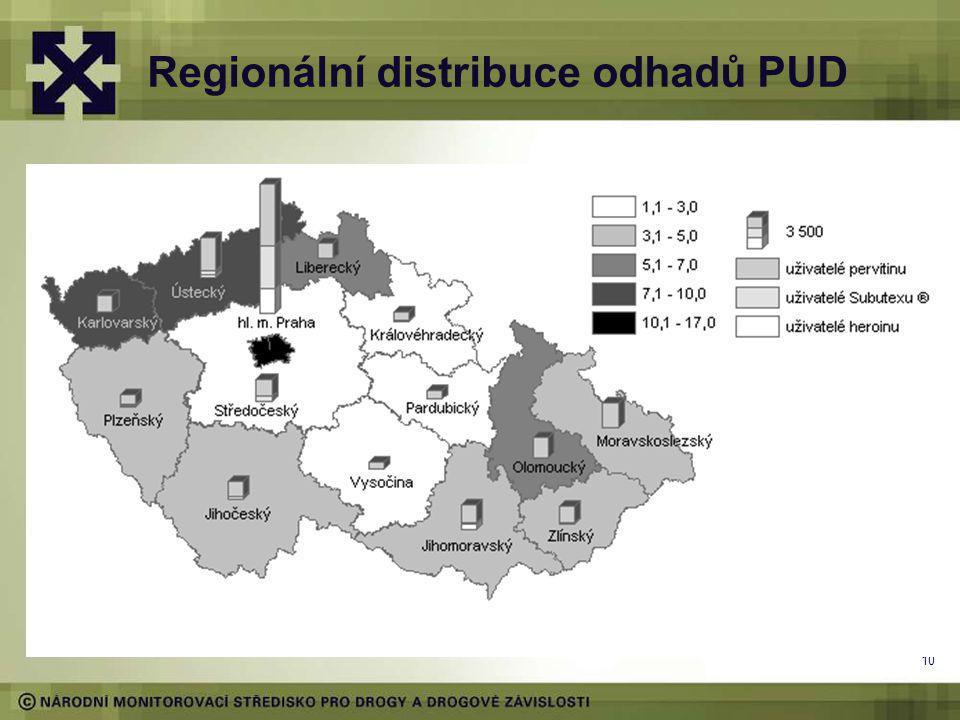 Regionální distribuce odhadů PUD 10