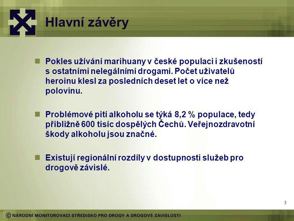 Hlavní závěry Pokles užívání marihuany v české populaci i zkušeností s ostatními nelegálními drogami.