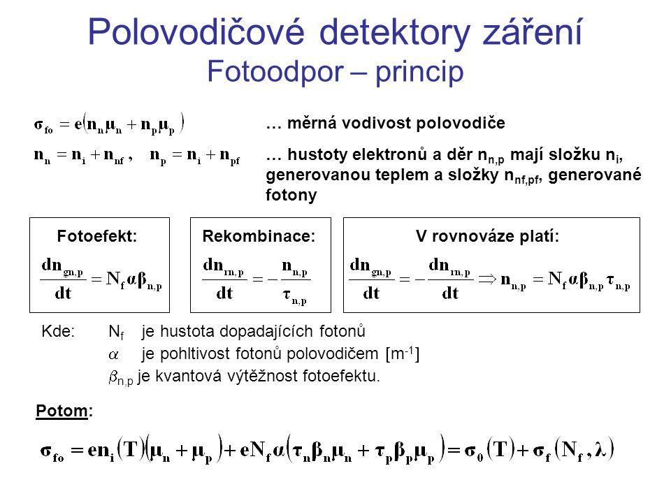 Polovodičové detektory záření Fotoodpor – princip … měrná vodivost polovodiče … hustoty elektronů a děr n n,p mají složku n i, generovanou teplem a sl