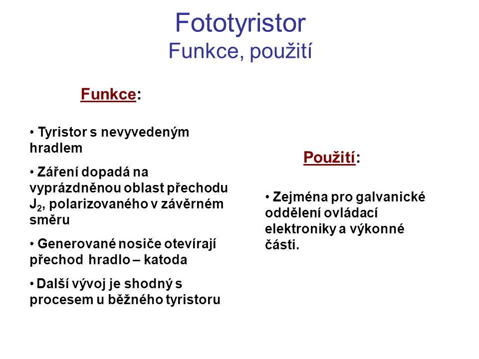 Fototyristor Funkce, použití Funkce: Použití: Tyristor s nevyvedeným hradlem Záření dopadá na vyprázdněnou oblast přechodu J 2, polarizovaného v závěr