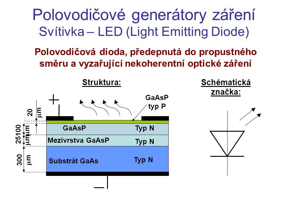 Polovodičové generátory záření Svítivka – LED (Light Emitting Diode) Polovodičová dioda, předepnutá do propustného směru a vyzařující nekoherentní opt