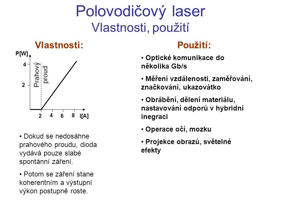 Polovodičový laser Vlastnosti, použití Optické komunikace do několika Gb/s Měření vzdálenosti, zaměřování, značkování, ukazovátko Obrábění, dělení mat