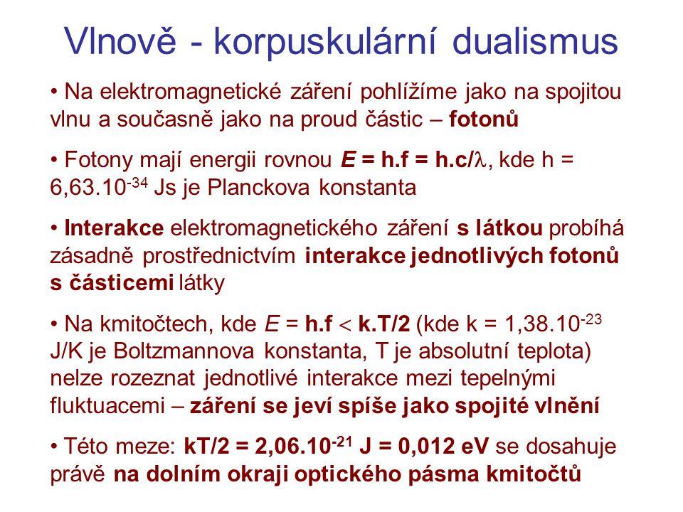 Vlnově - korpuskulární dualismus Na elektromagnetické záření pohlížíme jako na spojitou vlnu a současně jako na proud částic – fotonů Fotony mají ener