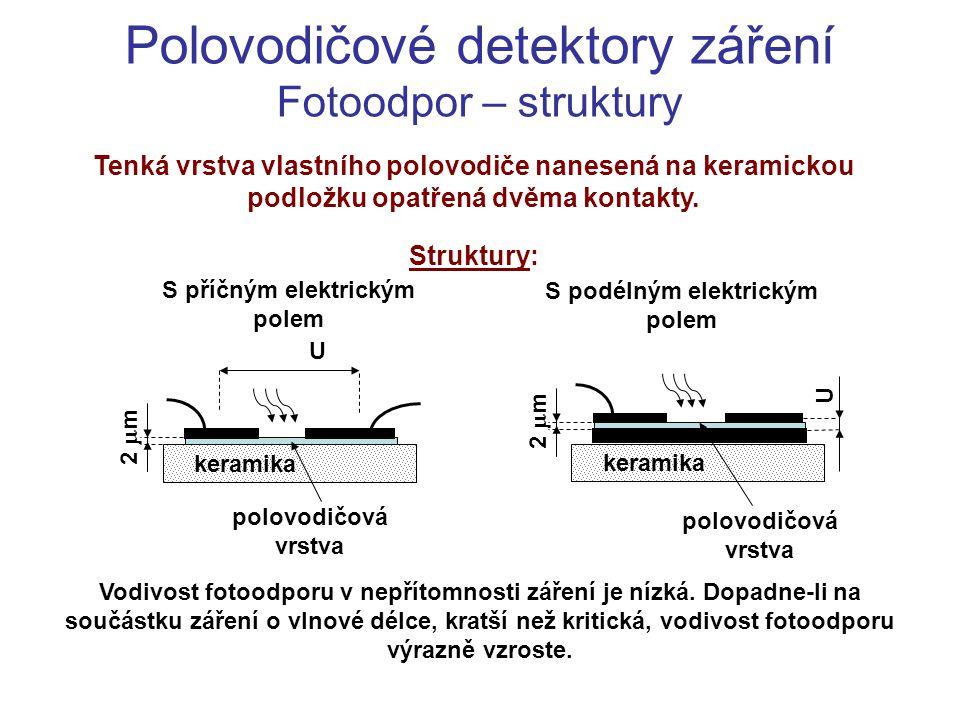 Polovodičové detektory záření Fotoodpor – princip … měrná vodivost polovodiče … hustoty elektronů a děr n n,p mají složku n i, generovanou teplem a složky n nf,pf, generované fotony Fotoefekt:Rekombinace:V rovnováze platí: Kde: N f je hustota dopadajících fotonů  je pohltivost fotonů polovodičem  m -1   n,p je kvantová výtěžnost fotoefektu.