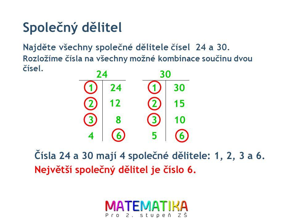 Společný dělitel Najděte všechny společné dělitele čísel 24 a 30. 24 1 Rozložíme čísla na všechny možné kombinace součinu dvou čísel. 12 2 83 30 1 152