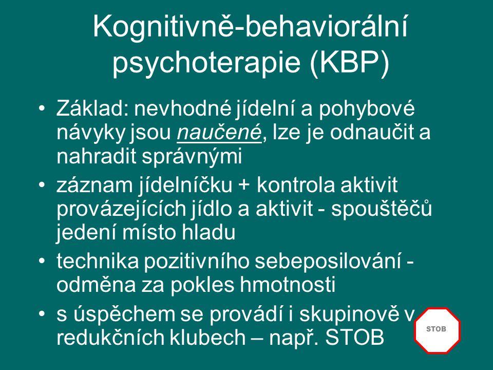 27 Kognitivně-behaviorální psychoterapie (KBP) Základ: nevhodné jídelní a pohybové návyky jsou naučené, lze je odnaučit a nahradit správnými záznam jí