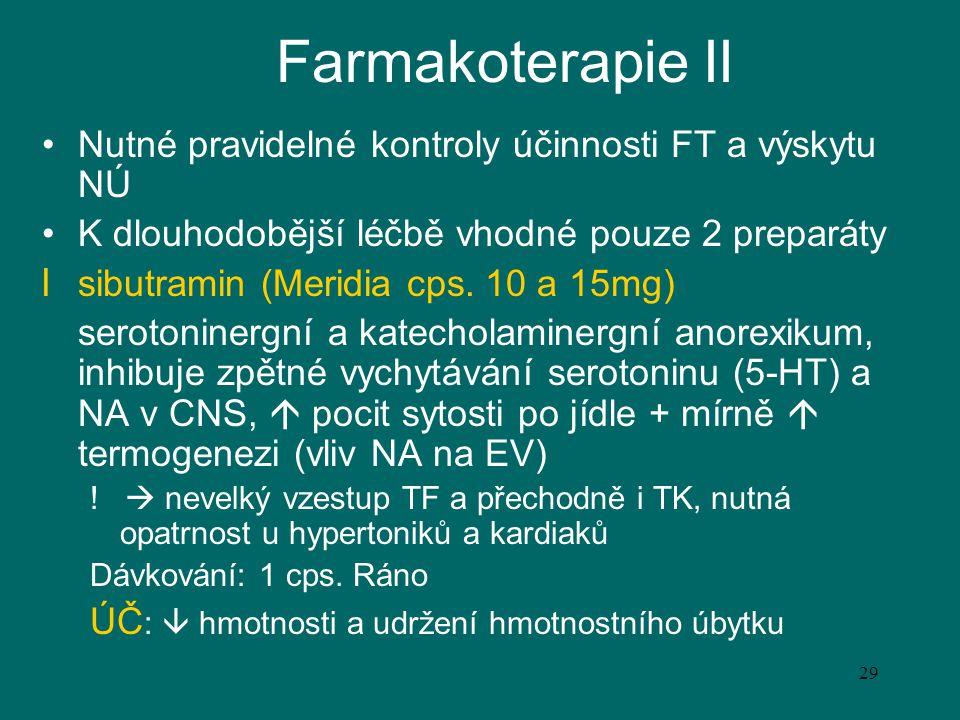 29 Farmakoterapie II Nutné pravidelné kontroly účinnosti FT a výskytu NÚ K dlouhodobější léčbě vhodné pouze 2 preparáty l sibutramin (Meridia cps. 10