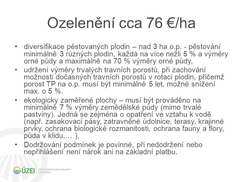 Ozelenění cca 76 €/ha diversifikace pěstovaných plodin – nad 3 ha o.p. - pěstování minimálně 3 různých plodin, každá na více nežli 5 % a výměry orné p
