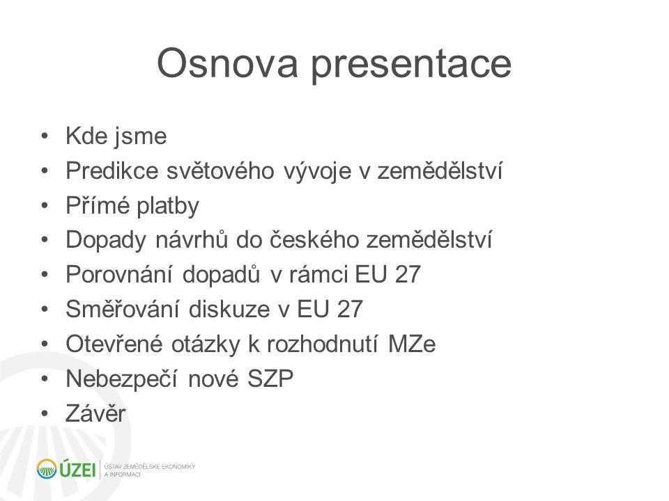 Osnova presentace Kde jsme Predikce světového vývoje v zemědělství Přímé platby Dopady návrhů do českého zemědělství Porovnání dopadů v rámci EU 27 Sm