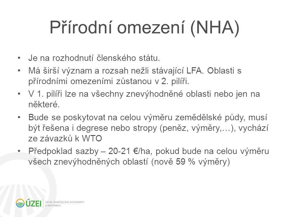 Přírodní omezení (NHA) Je na rozhodnutí členského státu. Má širší význam a rozsah nežli stávající LFA. Oblasti s přírodními omezeními zůstanou v 2. pi