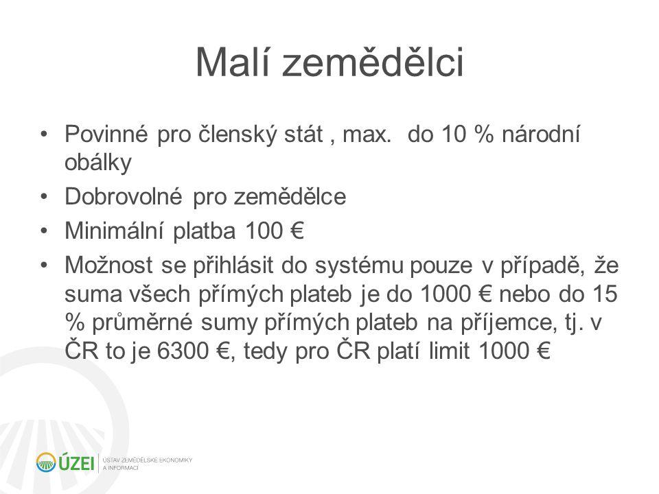 Malí zemědělci Povinné pro členský stát, max. do 10 % národní obálky Dobrovolné pro zemědělce Minimální platba 100 € Možnost se přihlásit do systému p