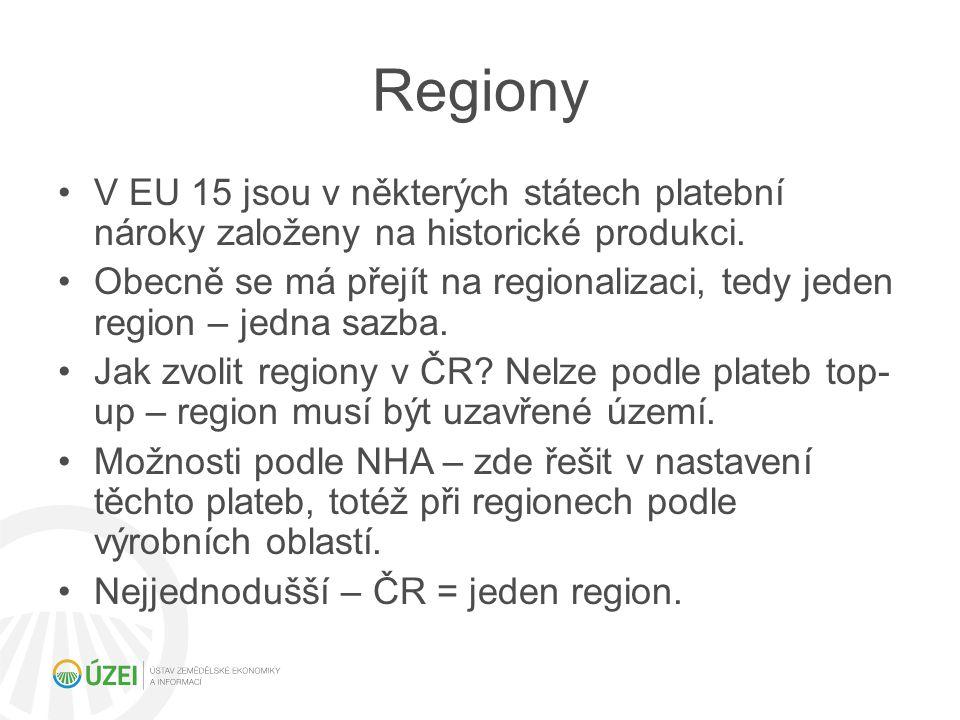 Regiony V EU 15 jsou v některých státech platební nároky založeny na historické produkci. Obecně se má přejít na regionalizaci, tedy jeden region – je