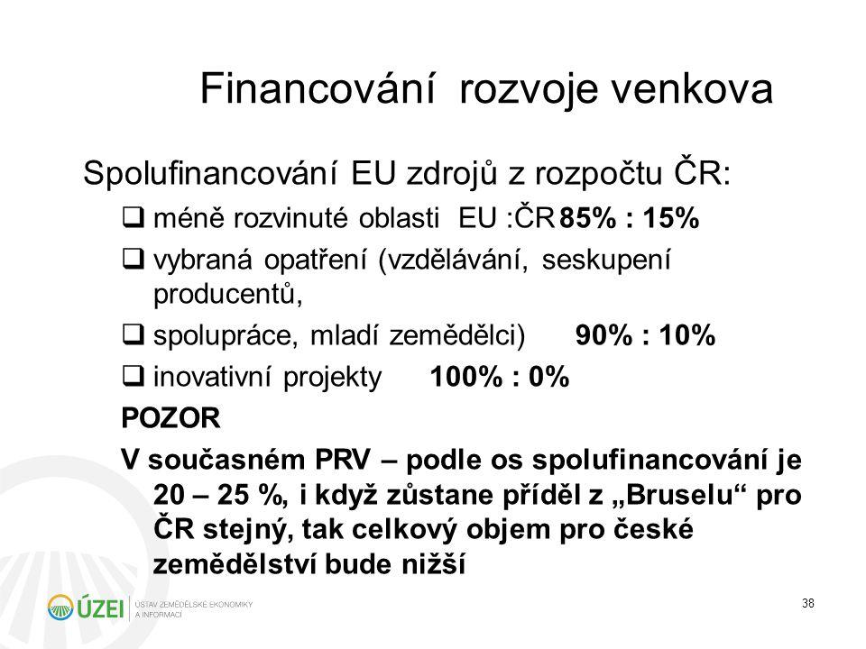 Financování rozvoje venkova Spolufinancování EU zdrojů z rozpočtu ČR:  méně rozvinuté oblasti EU :ČR85% : 15%  vybraná opatření (vzdělávání, seskupe