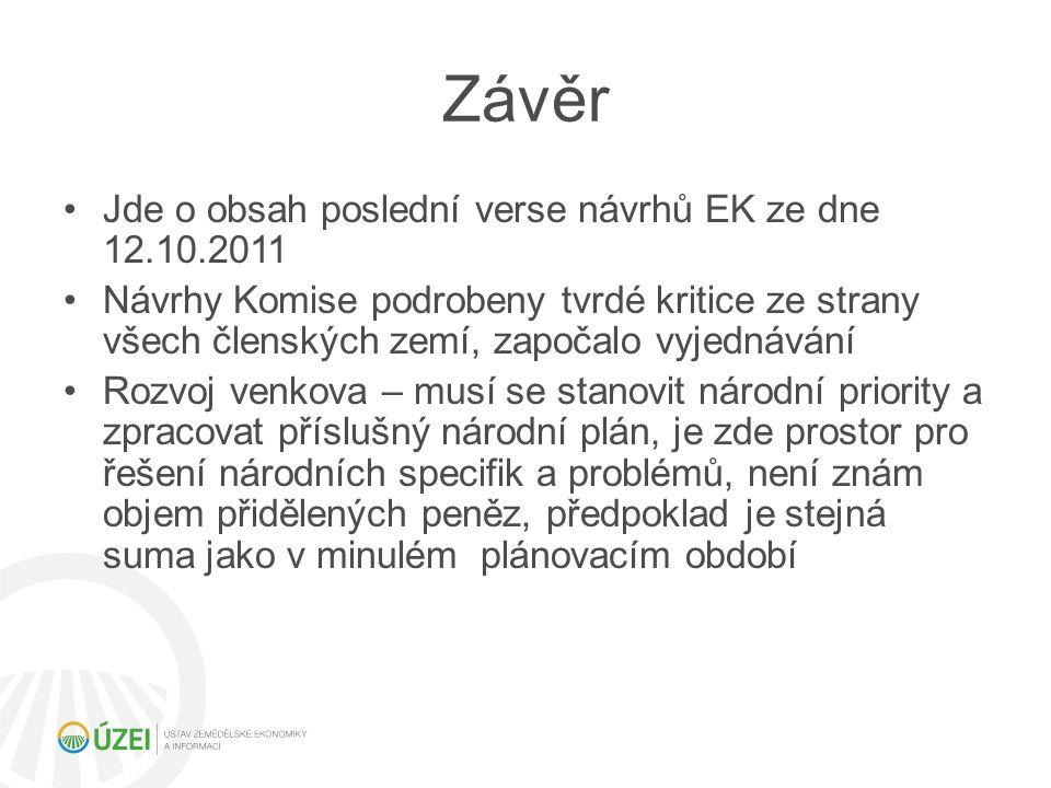 Závěr Jde o obsah poslední verse návrhů EK ze dne 12.10.2011 Návrhy Komise podrobeny tvrdé kritice ze strany všech členských zemí, započalo vyjednáván
