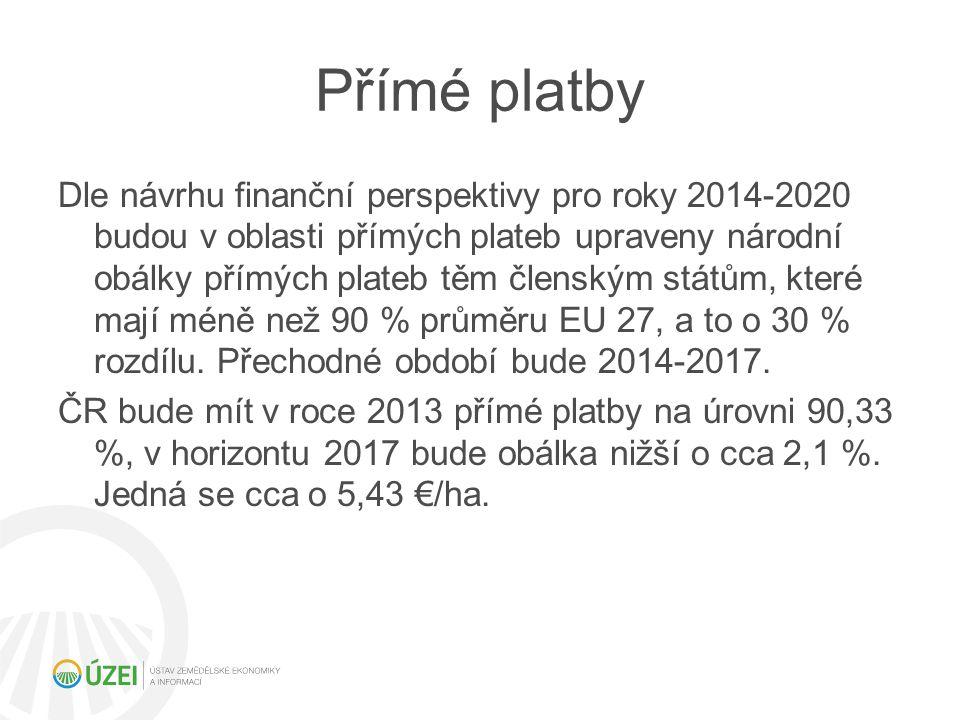 Přímé platby Dle návrhu finanční perspektivy pro roky 2014-2020 budou v oblasti přímých plateb upraveny národní obálky přímých plateb těm členským stá