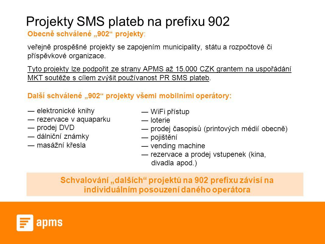 """Projekty SMS plateb na prefixu 902 Obecně schválené """"902"""" projekty: veřejně prospěšné projekty se zapojením municipality, státu a rozpočtové či příspě"""