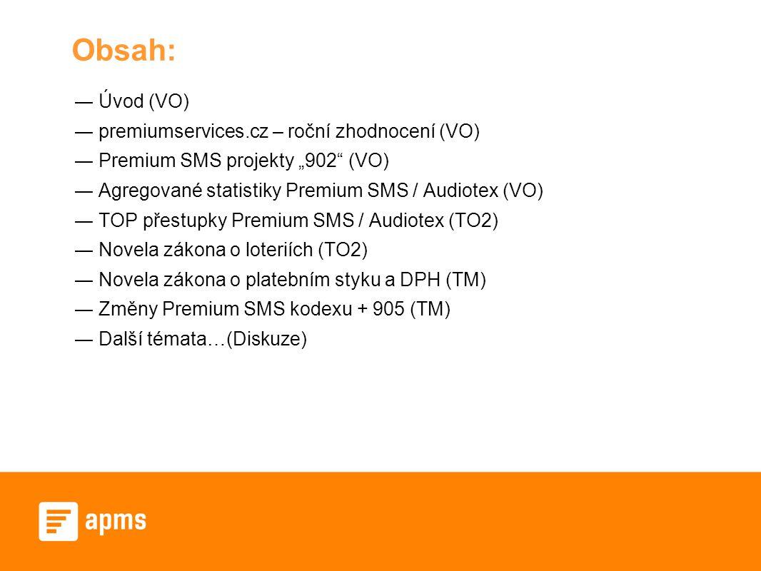 """Obsah: ― Úvod (VO) ― premiumservices.cz – roční zhodnocení (VO) ― Premium SMS projekty """"902 (VO) ― Agregované statistiky Premium SMS / Audiotex (VO) ― TOP přestupky Premium SMS / Audiotex (TO2) ― Novela zákona o loteriích (TO2) ― Novela zákona o platebním styku a DPH (TM) ― Změny Premium SMS kodexu + 905 (TM) ― Další témata…(Diskuze)"""