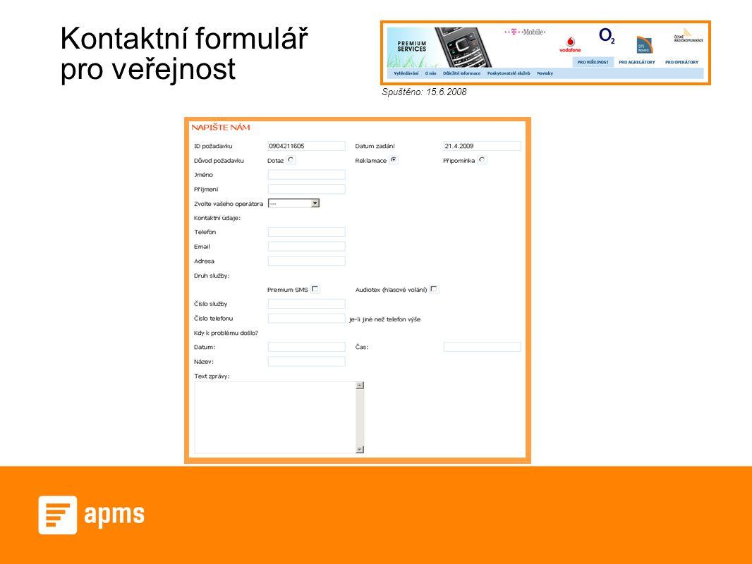 Kontaktní formulář pro veřejnost