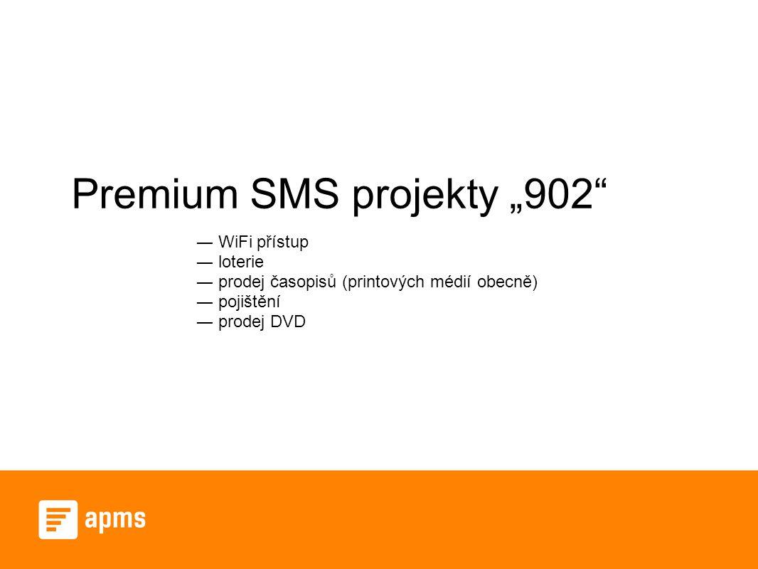 """Premium SMS projekty """"902 ― WiFi přístup ― loterie ― prodej časopisů (printových médií obecně) ― pojištění ― prodej DVD"""