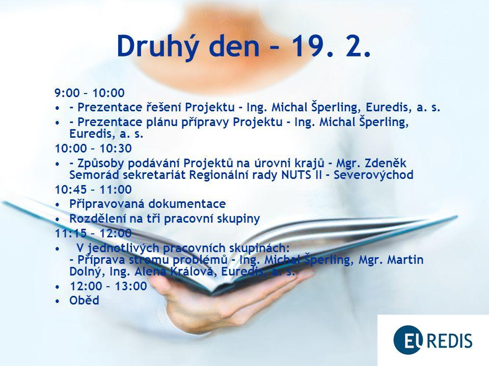 Druhý den – 19. 2. 9:00 – 10:00 - Prezentace řešení Projektu - Ing. Michal Šperling, Euredis, a. s. - Prezentace plánu přípravy Projektu - Ing. Michal
