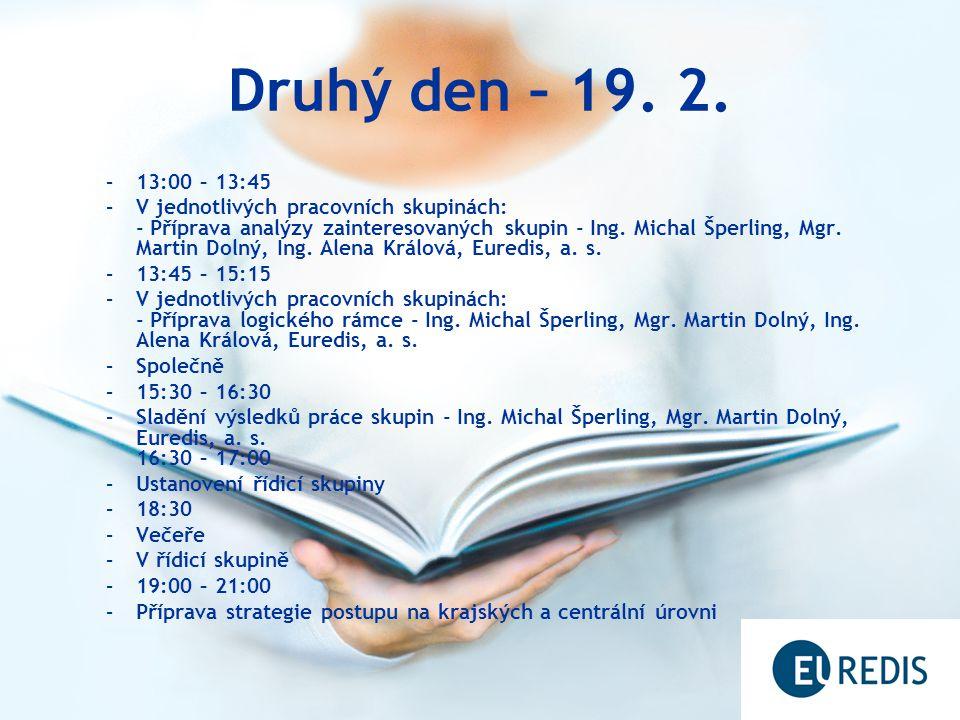 Druhý den – 19. 2. –13:00 – 13:45 –V jednotlivých pracovních skupinách: - Příprava analýzy zainteresovaných skupin - Ing. Michal Šperling, Mgr. Martin