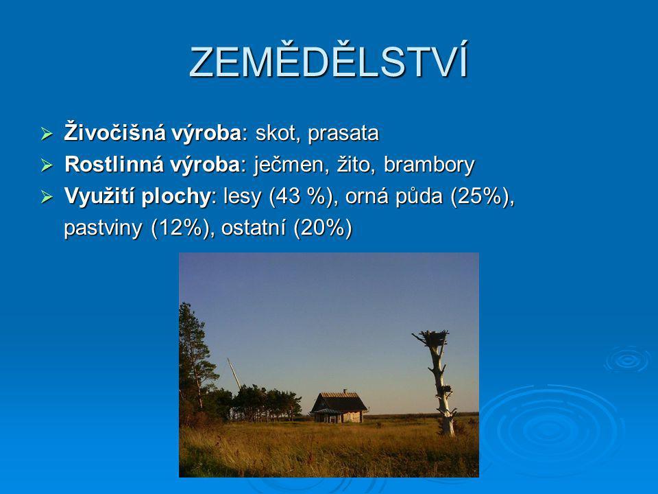ZEMĚDĚLSTVÍ  Živočišná výroba: skot, prasata  Rostlinná výroba: ječmen, žito, brambory  Využití plochy: lesy (43 %), orná půda (25%), pastviny (12%