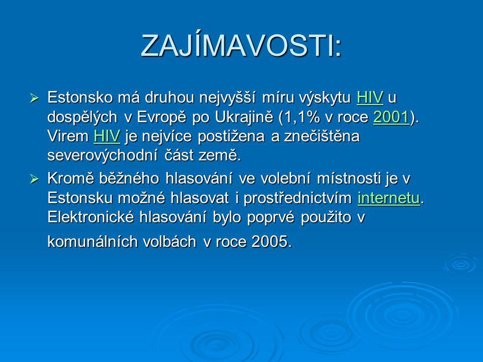 ZAJÍMAVOSTI:  Estonsko má druhou nejvyšší míru výskytu HIV u dospělých v Evropě po Ukrajině (1,1% v roce 2001). Virem HIV je nejvíce postižena a zneč