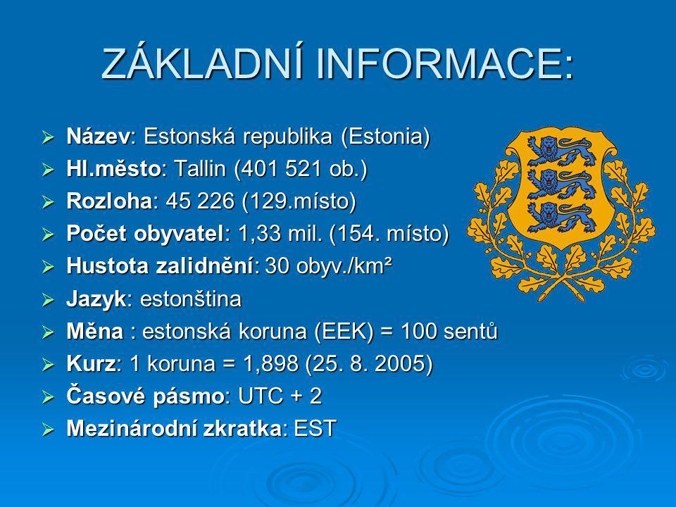 ZÁKLADNÍ INFORMACE:  Název: Estonská republika (Estonia)  Hl.město: Tallin (401 521 ob.)  Rozloha: 45 226 (129.místo)  Počet obyvatel: 1,33 mil. (