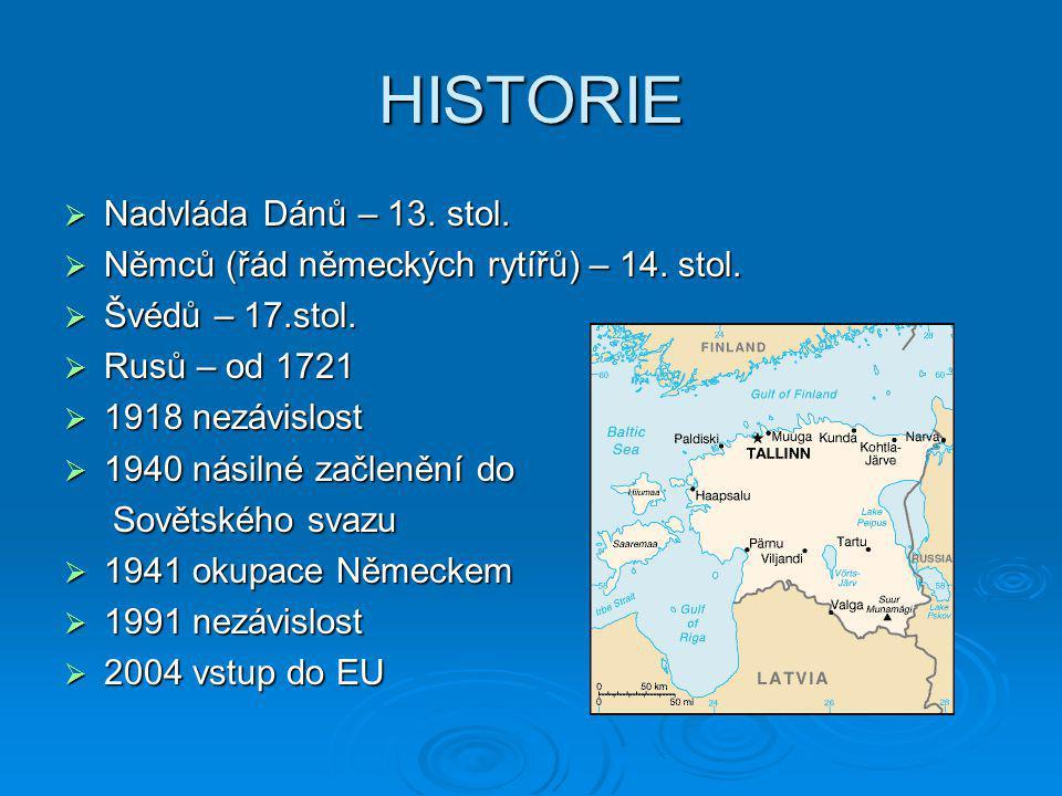 HISTORIE  Nadvláda Dánů – 13. stol.  Němců (řád německých rytířů) – 14. stol.  Švédů – 17.stol.  Rusů – od 1721  1918 nezávislost  1940 násilné