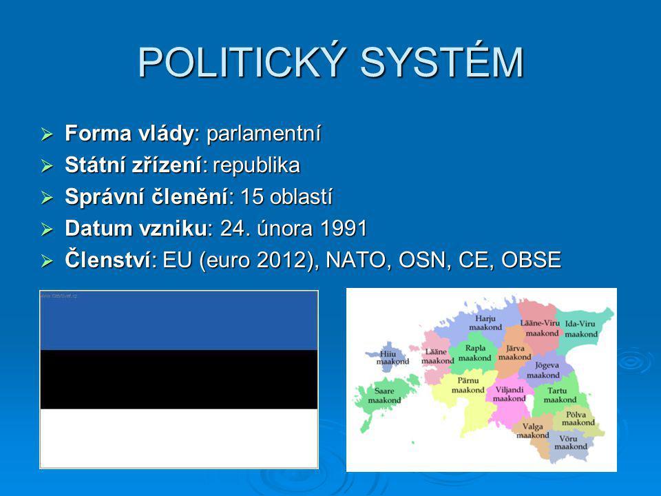 POLITICKÝ SYSTÉM  Forma vlády: parlamentní  Státní zřízení: republika  Správní členění: 15 oblastí  Datum vzniku: 24. února 1991  Členství: EU (e