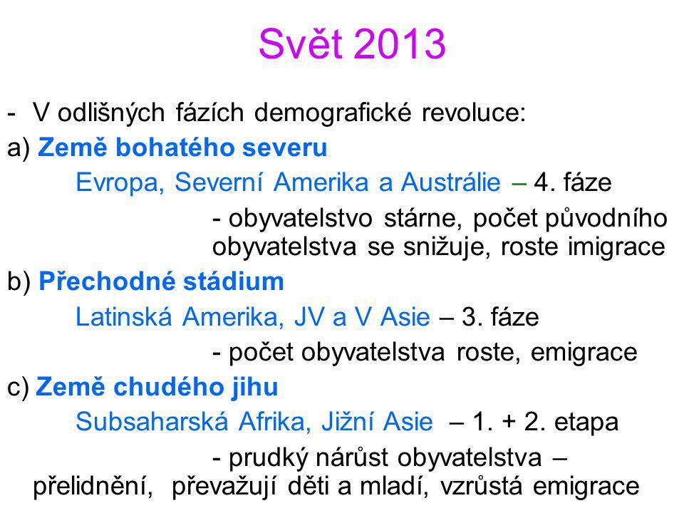 Svět 2013 -V odlišných fázích demografické revoluce: a) Země bohatého severu Evropa, Severní Amerika a Austrálie – 4. fáze - obyvatelstvo stárne, poče
