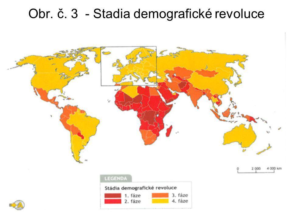 Obr. č. 3 - Stadia demografické revoluce