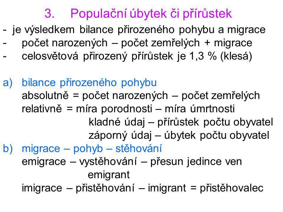 3.Populační úbytek či přírůstek - je výsledkem bilance přirozeného pohybu a migrace -počet narozených – počet zemřelých + migrace -celosvětová přiroze