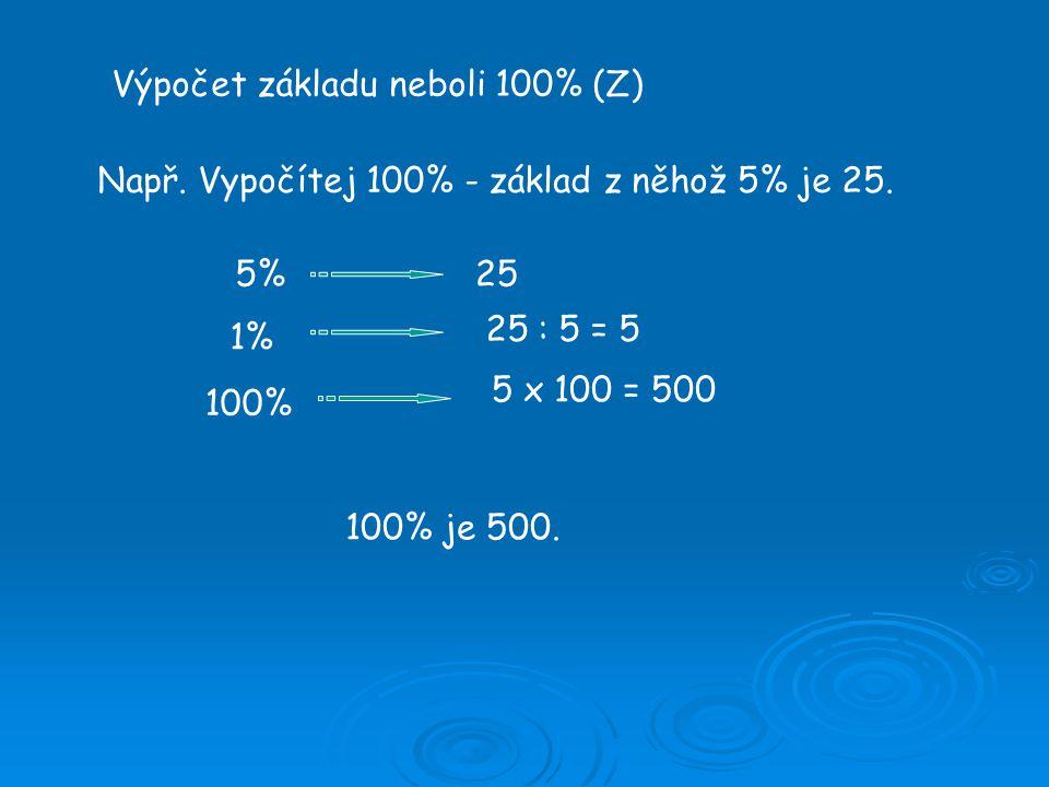 Výpočet základu neboli 100% (Z) Např. Vypočítej 100% - základ z něhož 5% je 25.