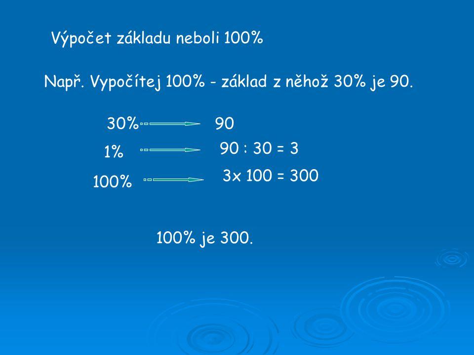 Výpočet základu neboli 100% Např. Vypočítej 100% - základ z něhož 30% je 90.