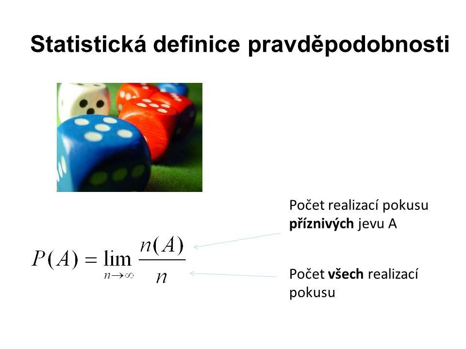 Statistická definice pravděpodobnosti Počet realizací pokusu příznivých jevu A Počet všech realizací pokusu