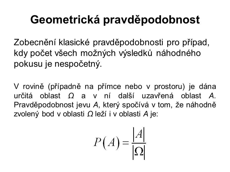 Geometrická pravděpodobnost Zobecnění klasické pravděpodobnosti pro případ, kdy počet všech možných výsledků náhodného pokusu je nespočetný.