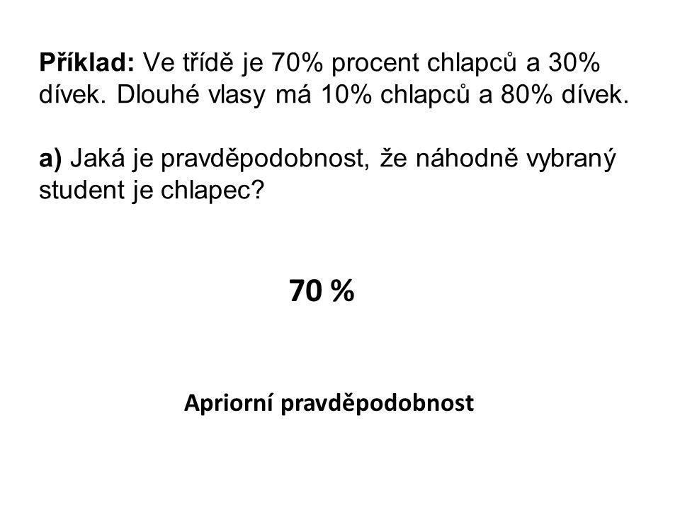 Příklad: Ve třídě je 70% procent chlapců a 30% dívek.
