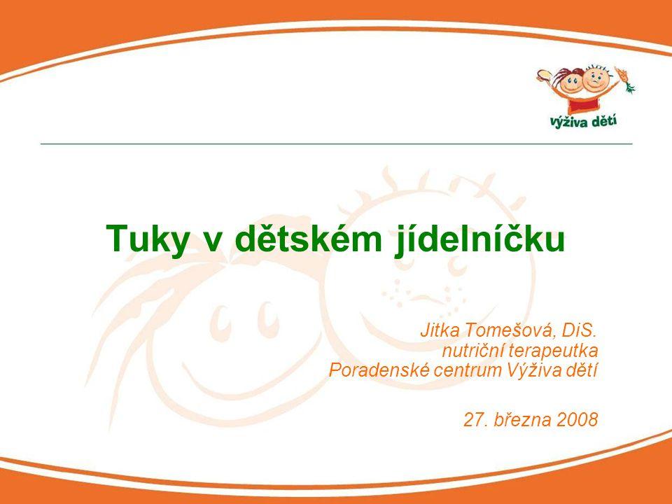 Jitka Tomešová, DiS. nutriční terapeutka Poradenské centrum Výživa dětí 27. března 2008 Tuky v dětském jídelníčku